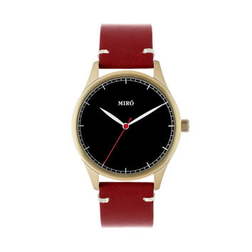 Miró Watches — Black Face Ruby Strap — Gold