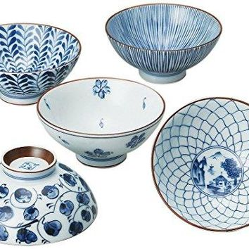 Saikai Pottery Traiditional Japanese Rice Bowls (5 bowls set) 31623 from Japan: Rice Bowls