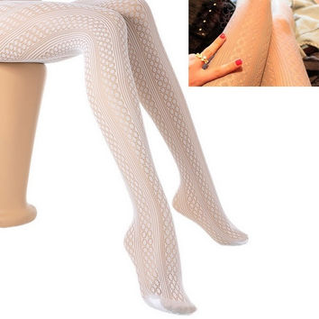 Women Sexy Retro Pattern Fishnet Tights Stockings Pantyhose White Free size(one size fits more women) = 1705526980