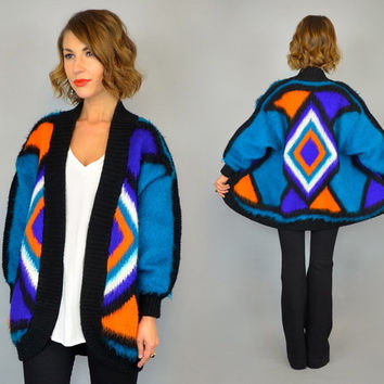 vtg 80s GEOMETRIC KNIT turquoise neon oversized draped cardigan SWEATER, extra small-small