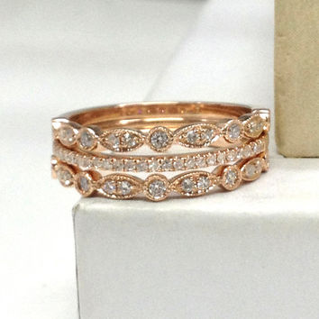 3pcs Diamond Wedding Ring Set!Engagement ring 14K Rose Gold,Stacking Eternity Band,Diamond Matching Band,Anniversary Ring,2 Art Deco Antique