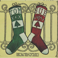 Knitting Pattern Vintage 70s Knitted Christmas Stocking Pattern Instant Download