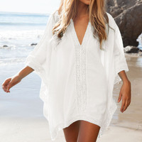 White Crochet Trim Caftan Poncho Beach Cover Up
