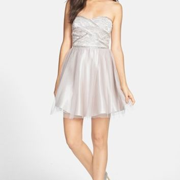 Jump Apparel by Wendye Chaitin Beaded Bodice Strapless Dress (Juniors) | Nordstrom