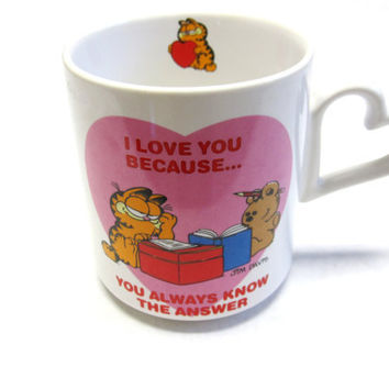 Garfield Mug  Coffee Cup Mug Valentines I Love You Because