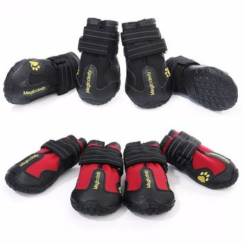4pcs/lot Waterproof Dog Shoes Wearable Pet Shoes for medium-size large Dogs Pet Boots Shoes Product balck/red