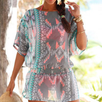New Summer fashion Women multicolor short sleeve Chiffon T-shirt short dress -0710