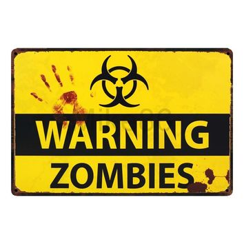 [ Mike86 ] WARNING ZOMBIES Tin Sign Home Bar Hotel Wall Painting Plaque Party Bar Public Decor SL-8840