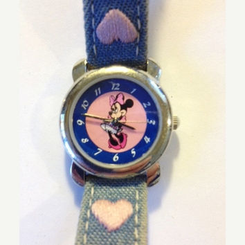 Disney Minnie Mouse Watch Blue and Pink Dial, Denim Band with Embroidered Hearts, Retro Disney
