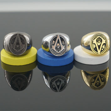 Assassins Creed Master Ring Anime Cosplay Accessories Bronze Anti-silver 4 Colour Men Anillos For Halloween Party Role Orn
