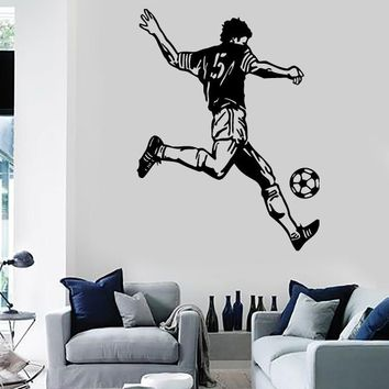Wall Stickers Vinyl Decal Sports Soccer Ball Player  (ig1022)