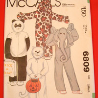 1970s Panda Elephant Cat Dog Costume Pattern McCalls 6809 Childs Small Chest 23-24