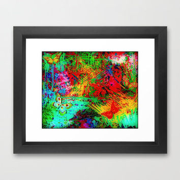 BUTTERFLY FEVER - Bold Rainbow Butterflies Fairy Garden Magical Bright Abstract Acrylic Painting Framed Art Print by EbiEmporium | Society6