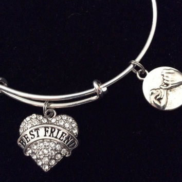 Crystal Heart Best Friend Expandable Charm Bracelet Adjustable Bangle Trendy Gift Handmade in America Trendy Stacking