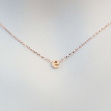 Personal, Small, Letter, Initial, Rose gold, Necklace, Lower case, Letter, Necklace, Lovers, Friends, Mom, Sister, Gift