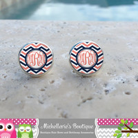 Coral and Navy Chevron Monogram Earrings, Monogram Jewelry, Monogram Accessories, Monogram Studs, Monogram Leverback, Monogram Gifts