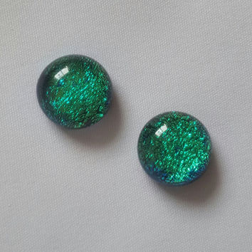 Dichroic Turquoise Earrings