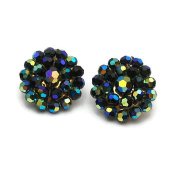 Vintage Peacock Blue Green AB Bead Cluster Clip On Earrings - Gold Tone Round Beaded Clip Earrings, Blue Green Purple Yellow Aurora Borealis