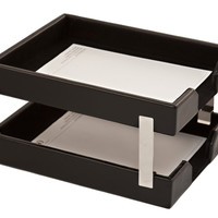 Dacasso Office Organization Paper Document Mail Storage Desktop Decorative Econo-Line Black Leather Double Letter Trays
