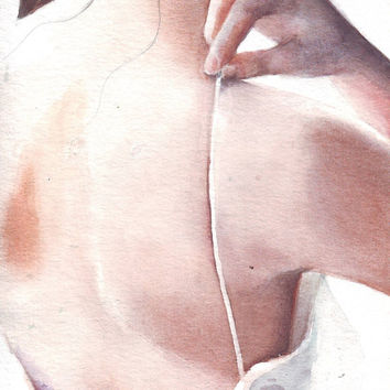 HM100 Original painting watercolor art Woman's Back by Helga McLeod