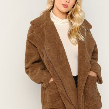 Moto Bear Fuzzy Jacket- Brown