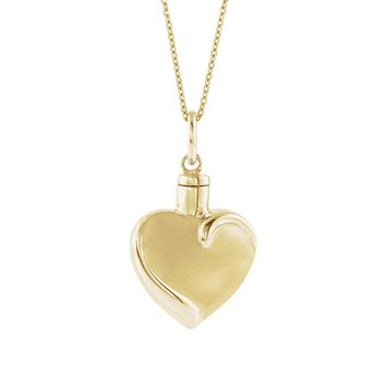 10K Yellow or White Gold Heart Ash Holder Necklace, 18 Inch