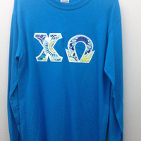 Chi Omega Sorority Small Long Sleeve Shirt with Greek Letters -- Ready to Ship!