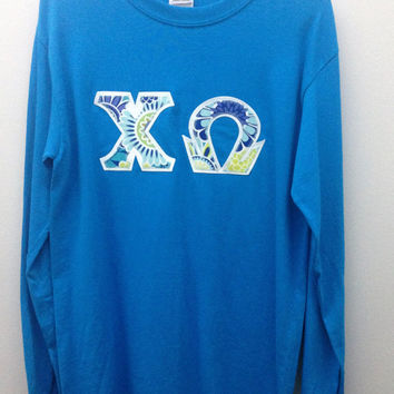 chi omega sorority small long sleeve shirt with greek letters ready to ship