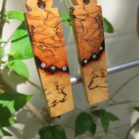 Gorgeous Spalted Tamarind Exotic Wood Dangle Earrings with .18 ct Diamonds Vintage Bronze ear wires.