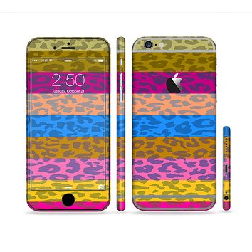 The Neon Striped Cheetah Animal Print Sectioned Skin Series for the Apple iPhone 6/6s Plus