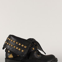 Evelyn-1-U Buckle Pyramid Studded Cuff Military Lace Up Bootie