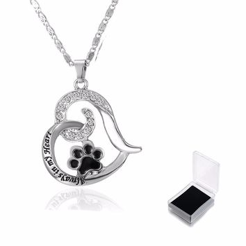 """Heart Love Engraved """"Always in my Heart""""Necklaces&Pendant Women Dog Claw Necklace Girls Necklace Hollow Out Jewelry (With Box)"""
