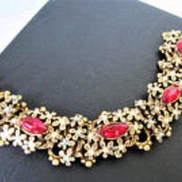 Victorian Revival Red Bracelet, Red Rhinestones,  Pearl Turquoise Accented, 4 Gold Tone Panels, Book Chain Links