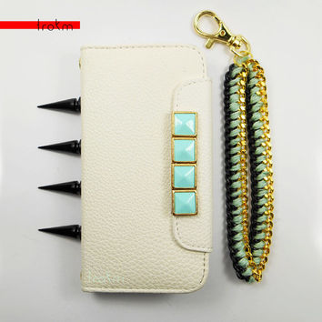 White iPhone 5 5S wallet phone case gold framed mint studded with add-on options black spikes matching chain wristlet combo braid or weave