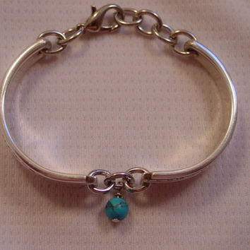 A SMALL Spoon Bracelet Grenoble Pattern With Turquoise Bead Vintage Spoon Jewelry b3