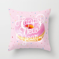 Happy New Year Donuts Throw Pillow by lostanaw
