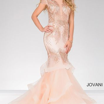 Blush long embellished mermaid dress with short sleeves and sheer bodice.