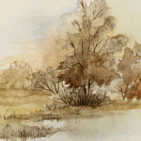 French Watercolor Landscape Painting by Haverton on Etsy