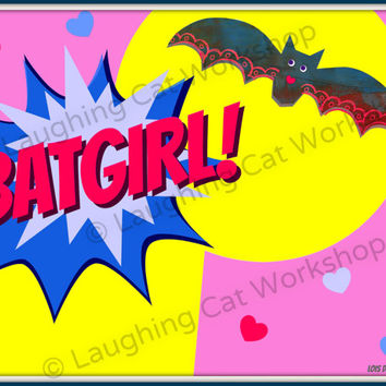 Batman art print superhero wall art from laughingcatworkshop on