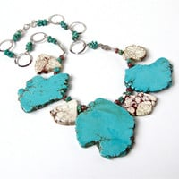 Chunky turquoise jewelry - turquoise and off white jasper slab statement necklace with silver by Sparkle City Jewelry