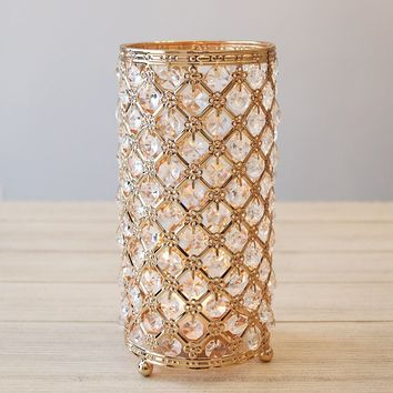 "Gold Faux Crystal Candle Holder Centerpiece - 9.5"" Tall"