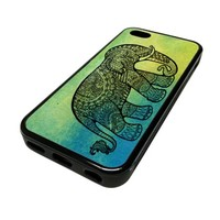 Apple iPhone 4 4G 4S Case Cover Skin Green Elephant Aztec Indian BLACK RUBBER SILICONE Vintage Hipster Dictionary Art Print Urban Inspirational Teen Gift Idea Accessories