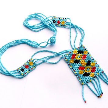 Vintage Beaded Native American Necklace Baby Blue Yellow Red Black Woven Boho Hippie Style Seed Bead