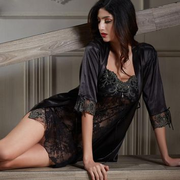 Xifenni Robe Sets Female Softness Satin Silk Sleepwear Women Pijama Sexy Black Lace Two-Piece V-Neck Bathrobes Set 2018 NEW 6628