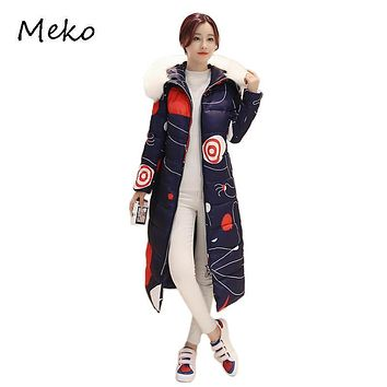 Winter Gui Honey Jacket Women Cotton Padded Bomber Printed Casaco Hoodie Long Coat Mujer Abrigos Female Slim Thick Coats TW32