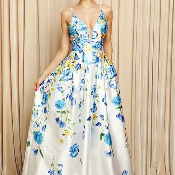 Ivory Floral Printed Flare Long Dress