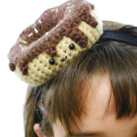 crochet chocolate glaze donut headband by youcute on Etsy