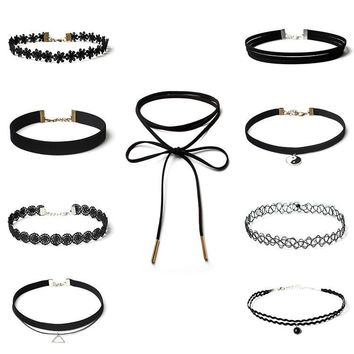 9Pcs Gift Shiny Jewelry Stylish New Arrival Set Chain Black Lace Necklace [9659243658]