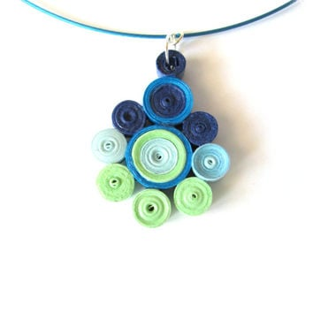 Blue Green Quilling Pendant, Quilled Paper Pendant in Blue and Green, Paper Quilling Pendant