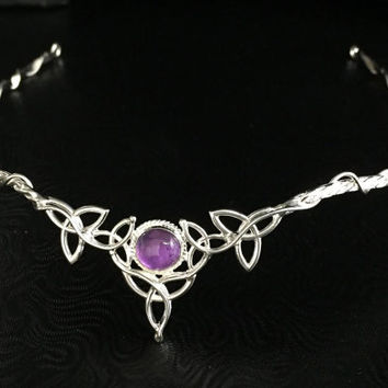 Celtic Wedding Bridal Headpiece Sterling Silver Circlet, 8mm Gemstone, Handmade Bridal Circlet, OOAK, Bespoke Wedding Circlet, Accessories